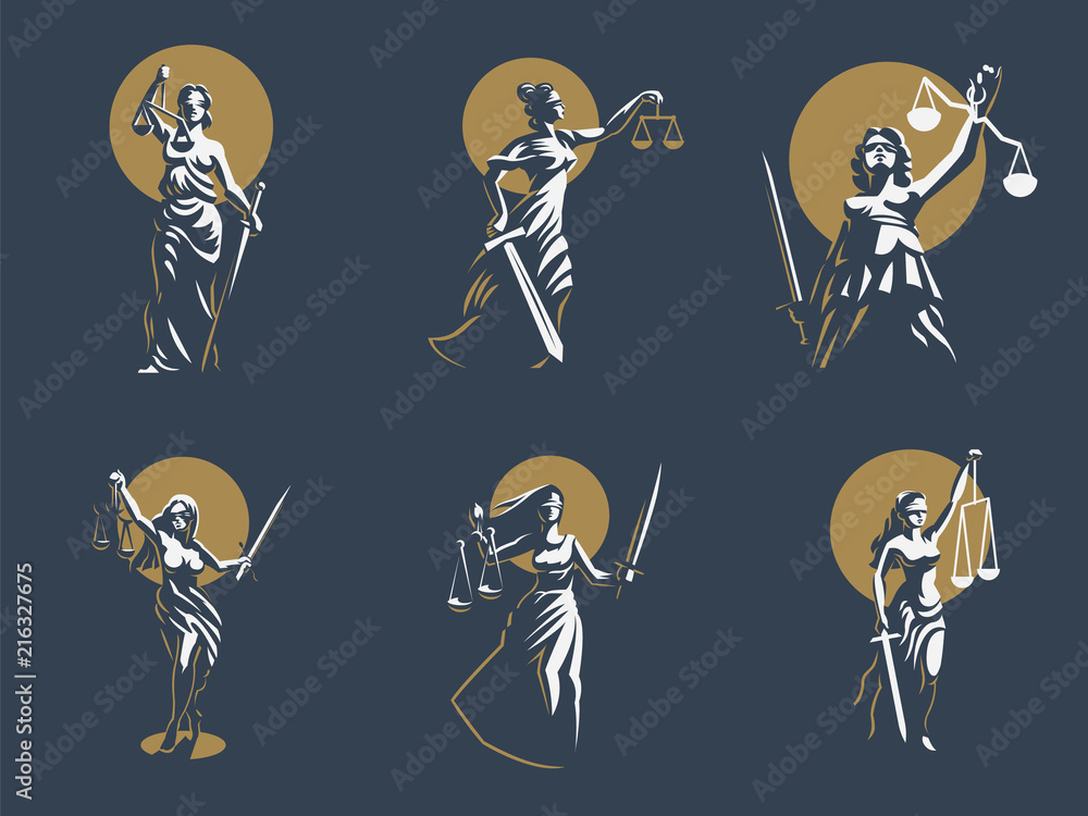 Fototapeta The goddess of justice Themis. Set. Vector.