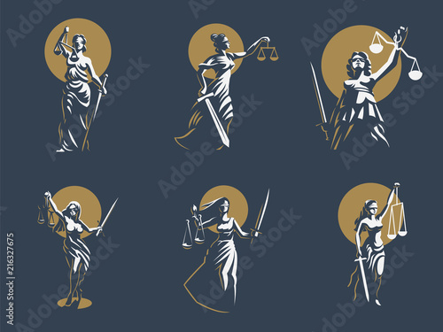 Fotografia The goddess of justice Themis. Set. Vector.