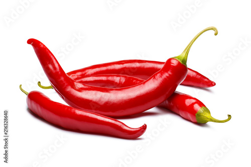 Canvas Print Red chili peppers, isolated on white background