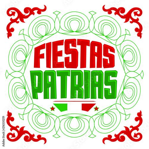 Fiestas Patrias National Holidays Spanish Text Mexico