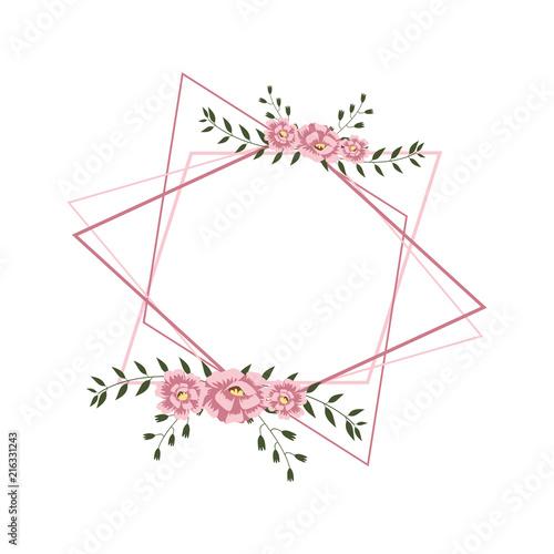 Poster Fleur Floral Flower Wreath Frame Flat Design Illustration