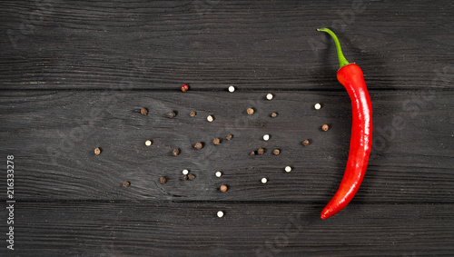 Hot red pepper on sacking and an old blackboard