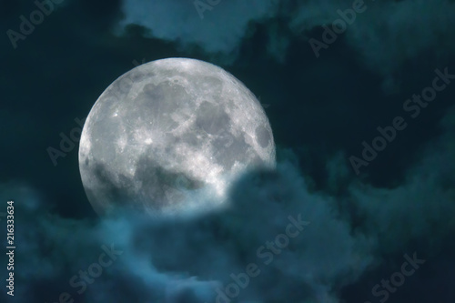 Fototapety, obrazy: Halloween night sky with clouds and appearance of a full moon with craters close up