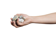 Hand Holding Sea Stones, Isola...