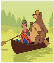 Canoe Trip / A Man And A Bear Share A Canoe.