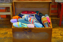 Display Of Colorful Traditional Espadrilles Cord And Fabric Shoes In The Basque Country, France