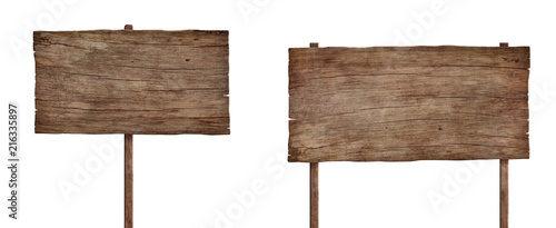 Cuadros en Lienzo old weathered wood sign isolated on white background 4