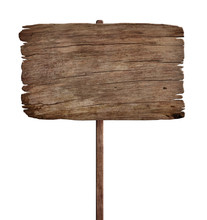 Old Weathered Wood Sign Isolat...