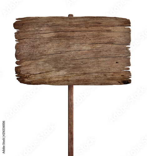 old weathered wood sign isolated on white background 5 Fototapete
