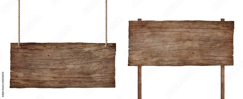 Fototapety, obrazy: old weathered wood sign isolated on white background