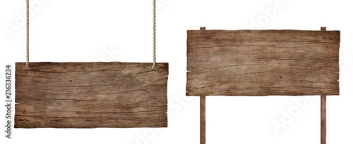 old weathered wood sign isolated on white background - 216336234