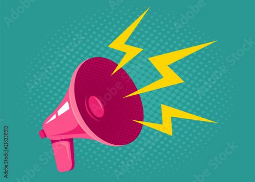 Obraz Pink retro megaphone. - fototapety do salonu