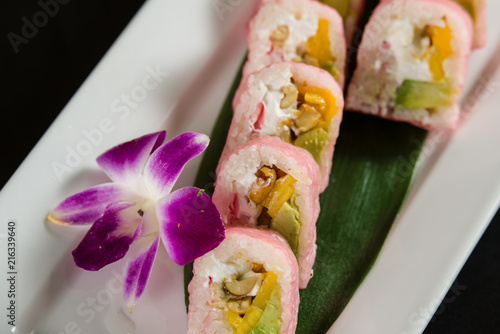 Foto op Canvas India Sushi on a white plate