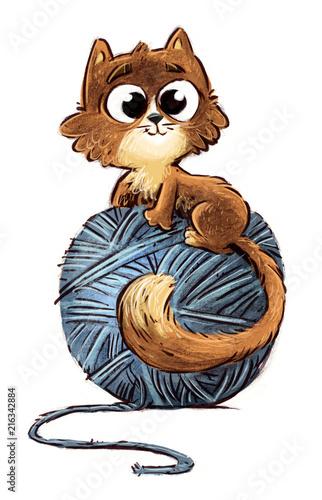 Canvas Print gato con ovillo