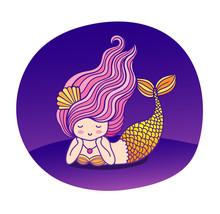 Dreamy Lying Cartoon Mermaid W...