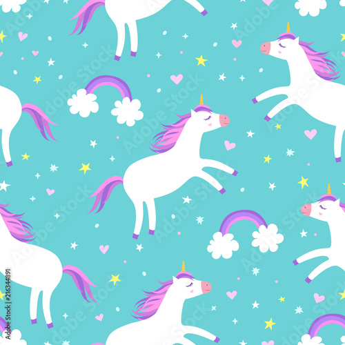 Cuadros en Lienzo Cute cartoon colorful seamless pattern with unicorns rainbows and stars on mint green background