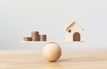 Wooden Home And Money Coins St...