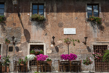Restaurant In The Piazza De Mercanti, A Square In The Trastevere District In Rome
