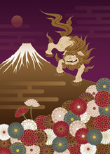 富士山と狛犬と菊の花...