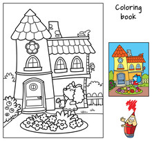 Cute Little Dog Is Watering Flowers From A Watering Can In Front Of Her House. Coloring Book. Cartoon Vector Illustration