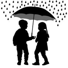 Children Under The Umbrella Are Hiding From The Rain, Silhouette Vector