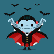 Cute Cartoon Tiny Dracula Smil...