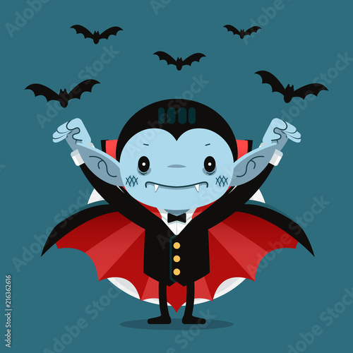Cute cartoon tiny Dracula smiling Fotobehang