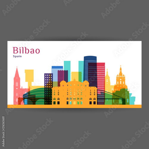 Bilbao city architecture silhouette. Colorful skyline. City flat design. Vector business card.