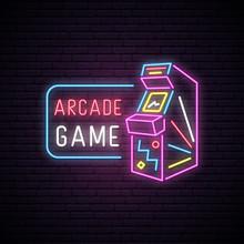 Neon Sign Of Arcade Game Machi...