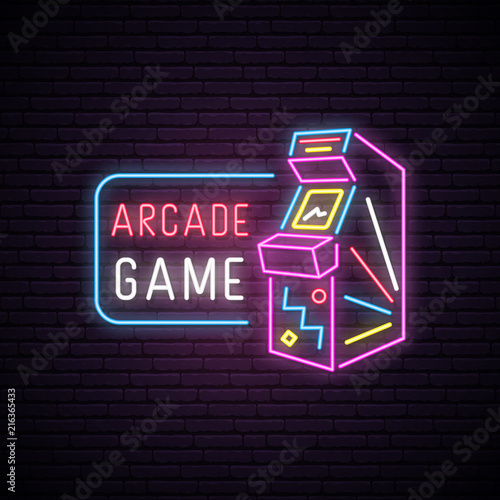 Canvas Neon sign of Arcade game machine
