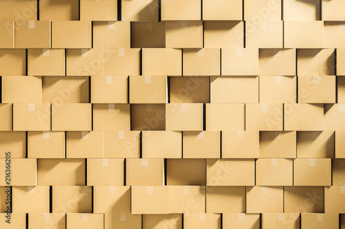 Fotografia, Obraz  Wall of closed cardboard boxes stacked mock up