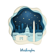 Paper Art Illustration Of Washington. Origami Concept. Night City With Stars. Vector Illustration.