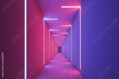 Stampa su Tela Neon light pink and purple empty corridor