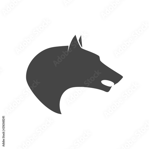 Valokuvatapetti Black wolf howl emblem or logo