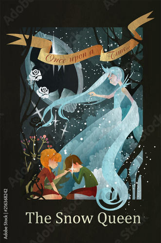 Snow Queen, Kai and Gerda fairy tale illustration