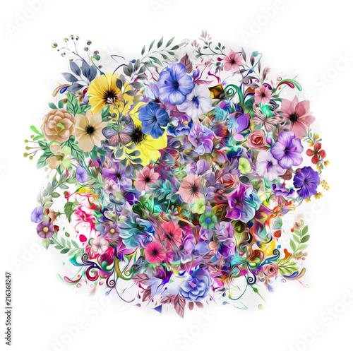Абстрактный цветочный красочный фон