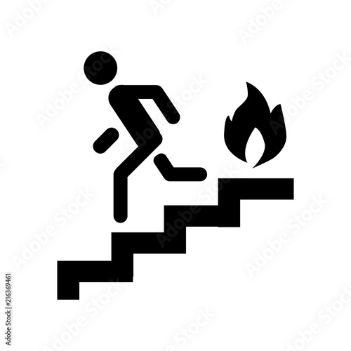 Valokuva Fire escape, ladder, man, fire solid icon