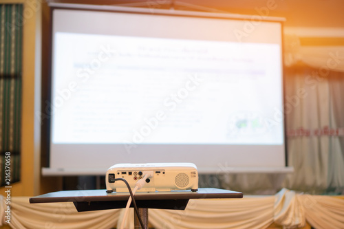 Blank projector with white screen for presentation in conference or meeting room Canvas Print