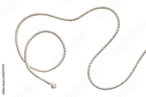 Leinwand Poster Curled rope, isolated on white background