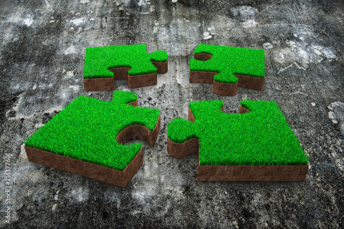 Jigsaw Puzzles Made Out Of Green Gr