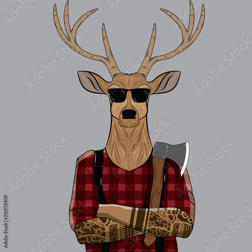 Deer Dressed up in Plaid Shirt