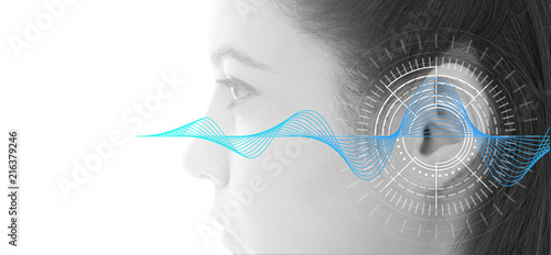 Hearing test showing ear of young woman with sound waves simulation technology Fototapet