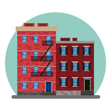 The Old American City Abstract Buildings. New York Old Manhattan Houses. Old Building And Facades Of New York, Vector Illustration