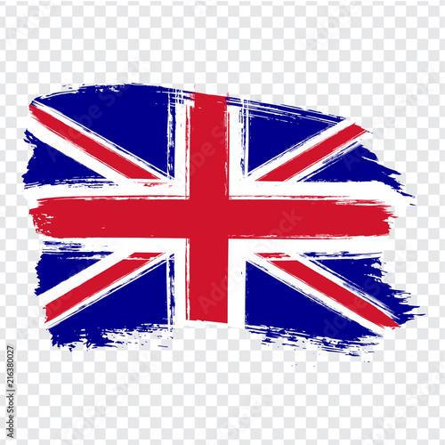 Fotografie, Obraz Flag of United Kingdom of Great Britain and Northern Ireland, brush stroke background