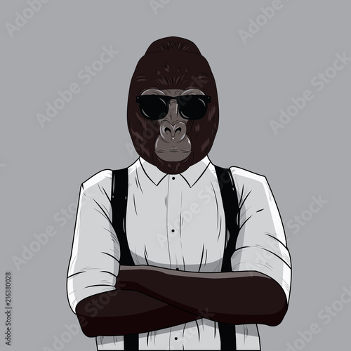 Photo Gorilla dressed up in white shirt