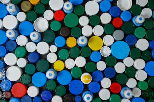 Collection of various colorful plastic screw caps #216380216