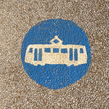 Painted Tram Warning Sign In B...