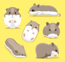 Cute Hamster Poses Cartoon Vec...