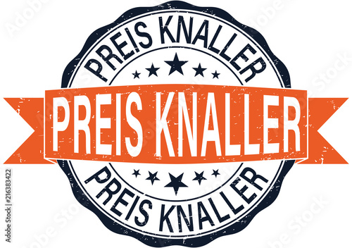 Fotografía  rundes schwarz orange Preis Knaller Web Icon Stempel Symbol