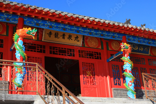 Staande foto Rood paars chinese ancient temple landscape architecture